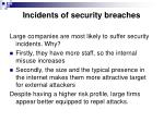 incidents of security breaches