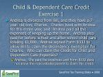 child dependent care credit exercise 1144