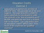 education credits exercise 2