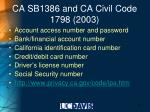 ca sb1386 and ca civil code 1798 2003