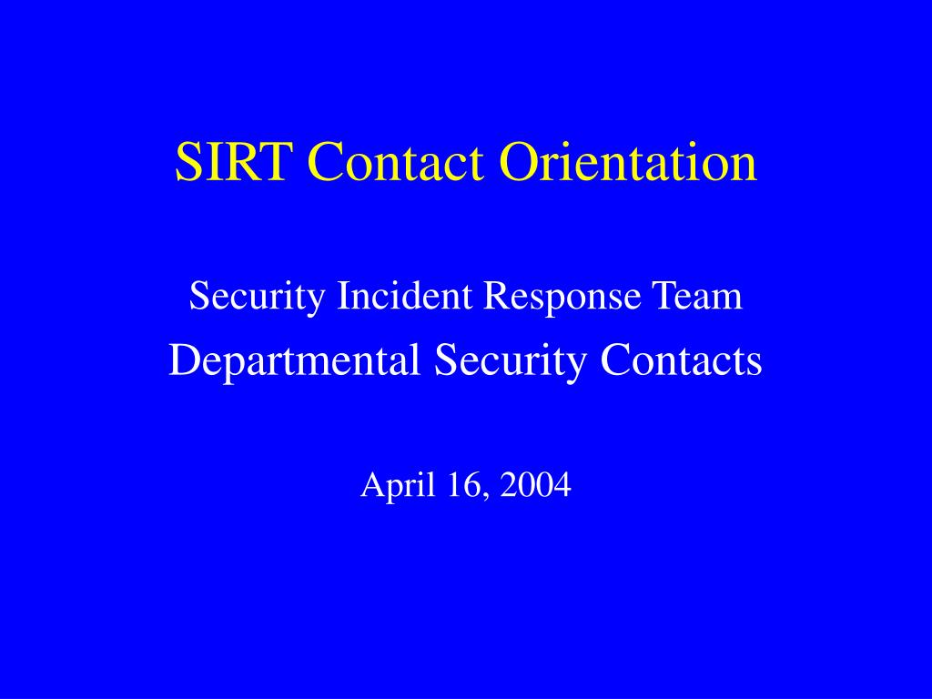 sirt contact orientation l.