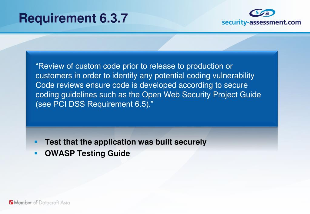 Requirement 6.3.7