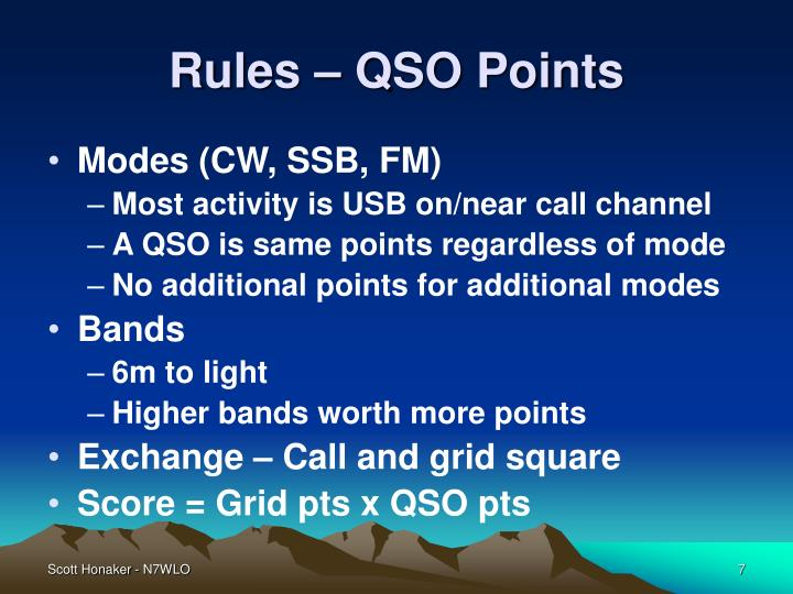 Rules – QSO Points
