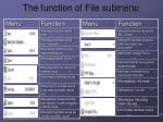 the function of file submenu