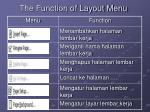 the function of layout menu