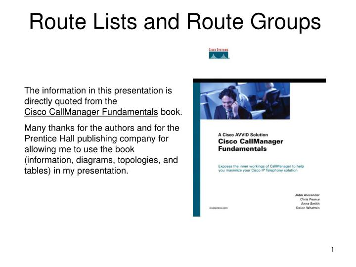 route lists and route groups n.