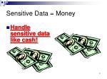 sensitive data money