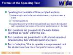 format of the speaking test
