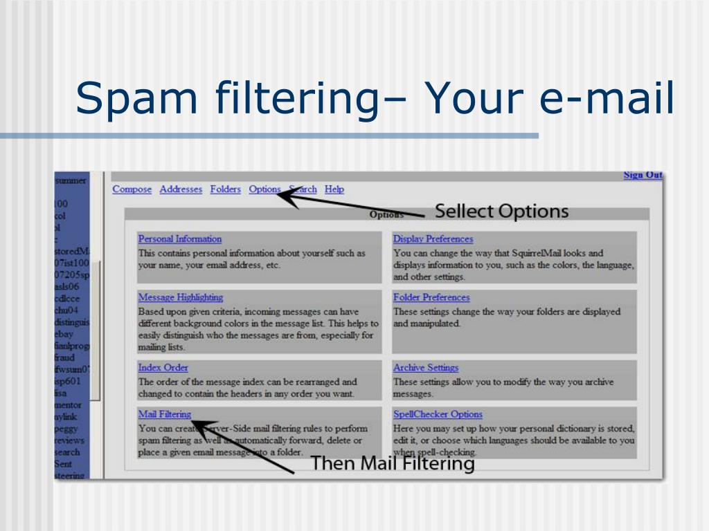 Spam filtering– Your e-mail