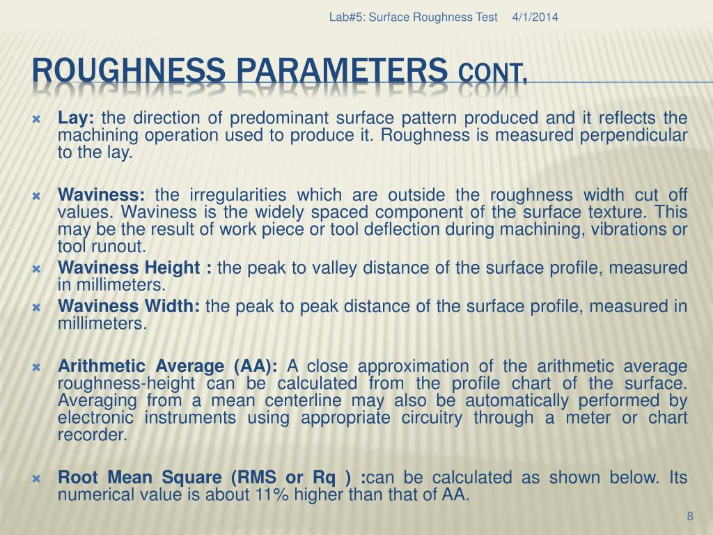 PPT - Lab # 5: Surface Roughness Test PowerPoint