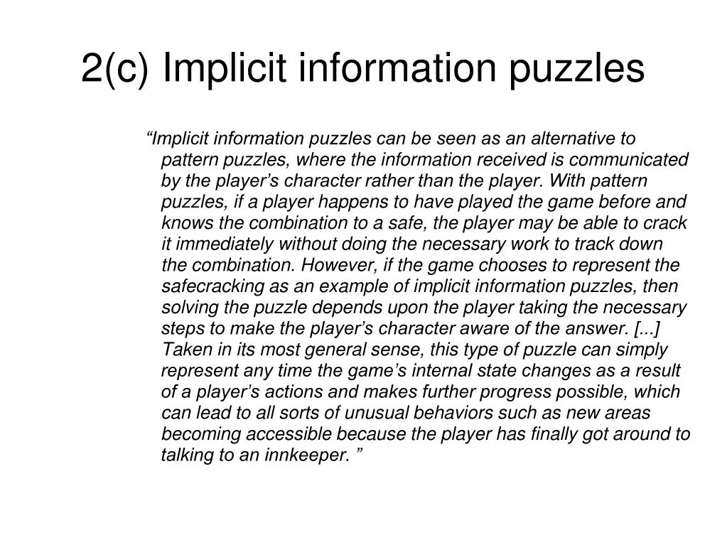 2(c) Implicit information puzzles