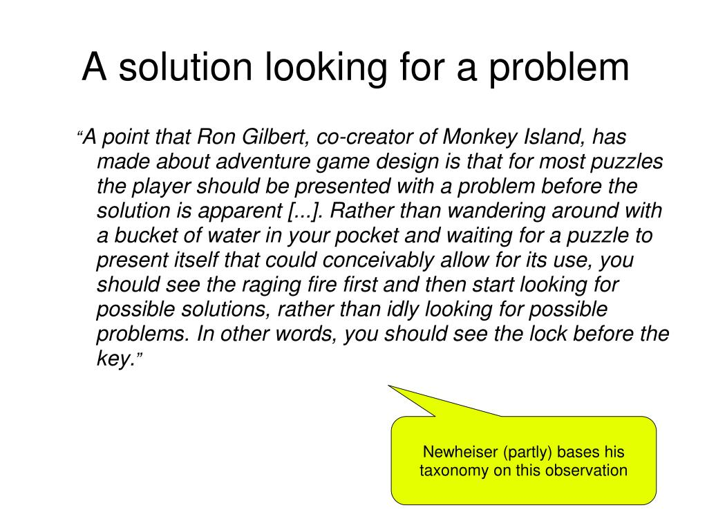 A solution looking for a problem