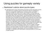 using puzzles for gameply variety