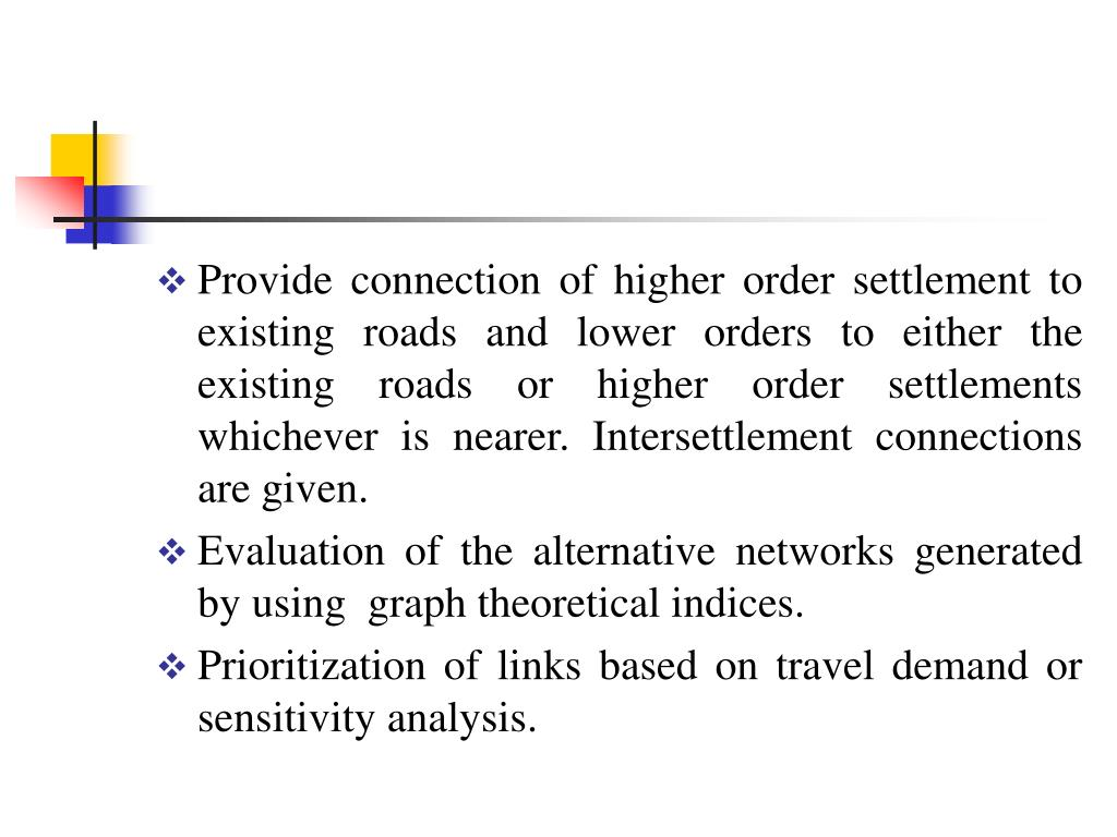 Provide connection of higher order settlement to existing roads and lower orders to either the existing roads or higher order settlements whichever is nearer. Intersettlement connections are given.