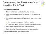 determining the resources you need for each task11