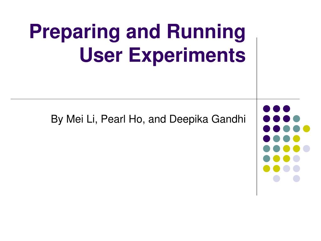 preparing and running user experiments l.