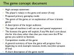the game concept document