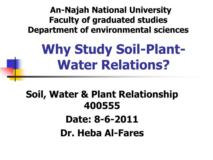 why study soil plant water relations n.