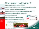 c onclusion why acer