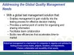 addressing the global quality management needs