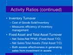 activity ratios continued