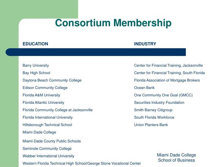 Consortium membership