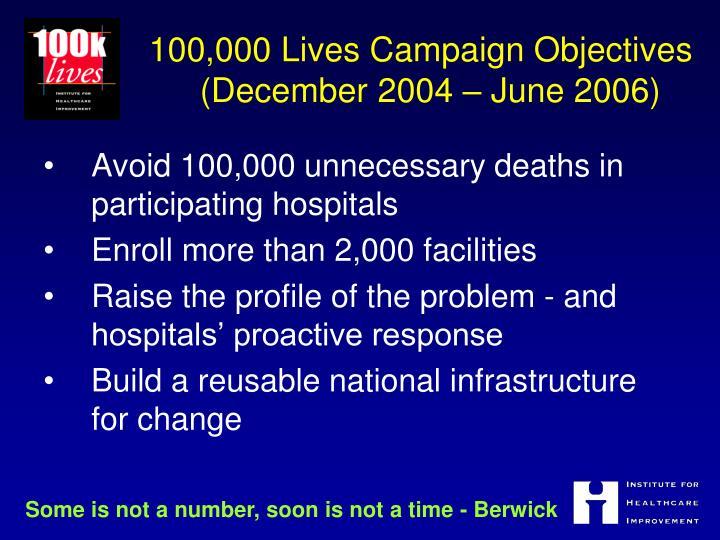 100 000 lives campaign objectives december 2004 june 2006