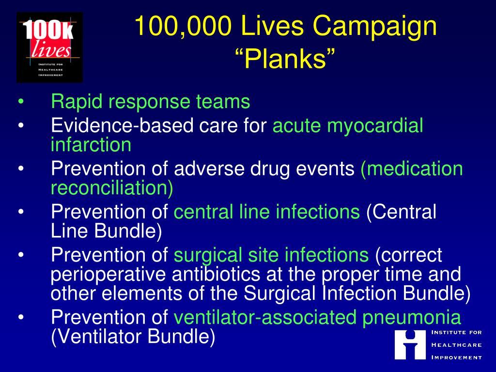 "100,000 Lives Campaign ""Planks"""