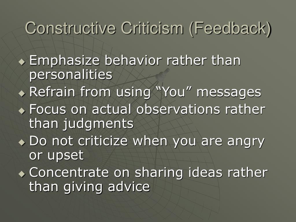 Constructive Criticism (Feedback)