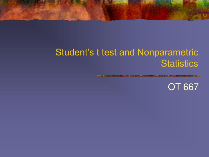 student s t test and nonparametric statistics n.