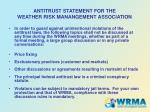 antitrust statement for the weather risk manangement association