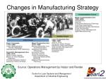 changes in manufacturing strategy