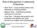 role of management in addressing productivity