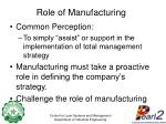 role of manufacturing