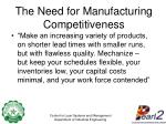 the need for manufacturing competitiveness