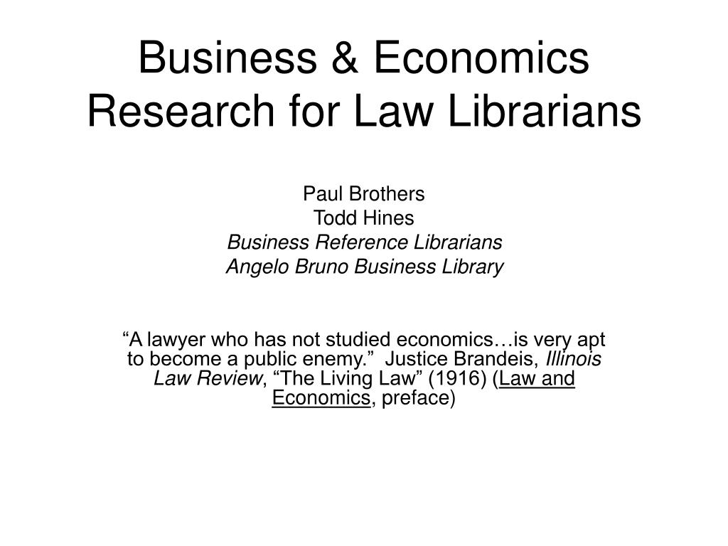 business economics research for law librarians l.