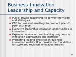 business innovation leadership and capacity