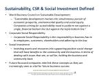 sustainability csr social investment defined