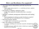 how can resilience be acquired