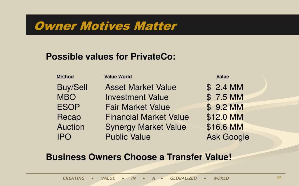 Owner Motives Matter