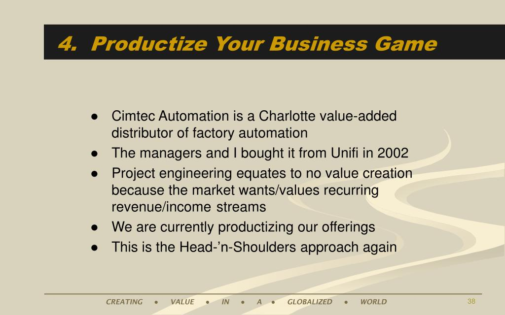 4.  Productize Your Business Game