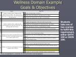 wellness domain example goals objectives