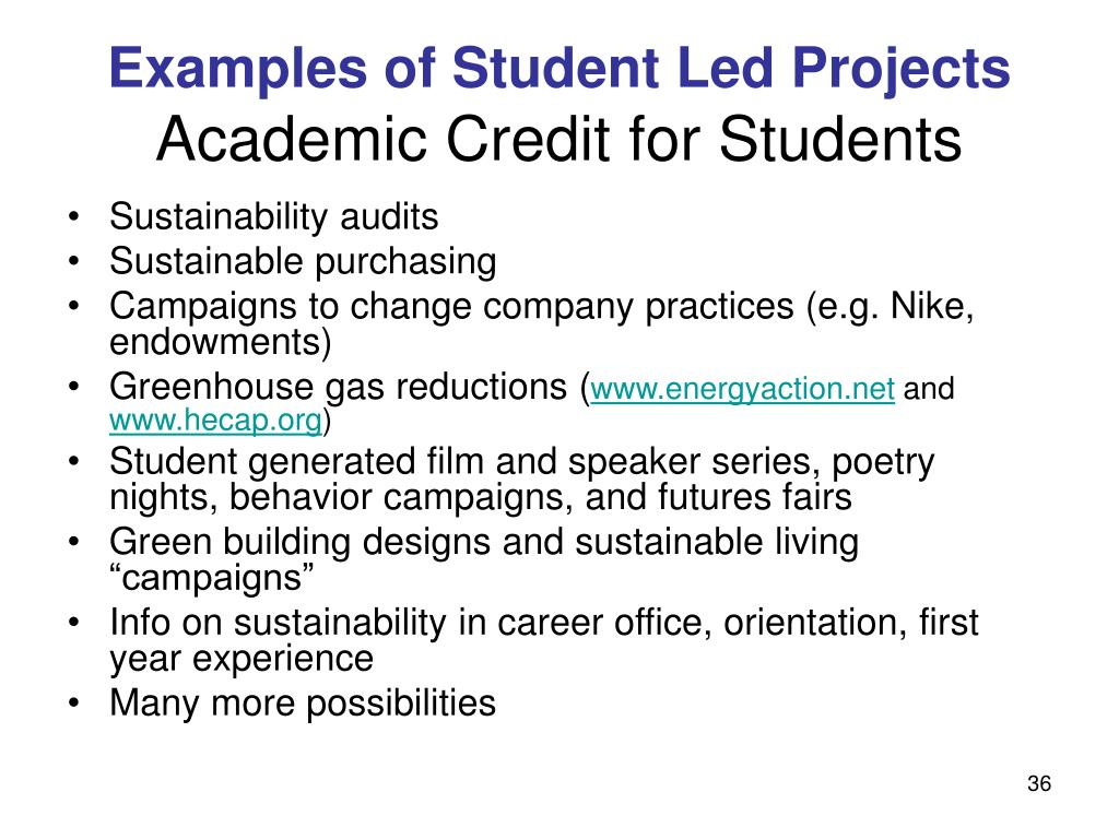 Examples of Student Led Projects