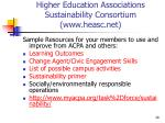 higher education associations sustainability consortium www heasc net