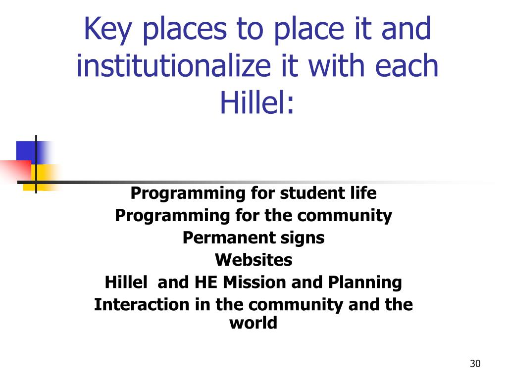 Key places to place it and institutionalize it with each Hillel: