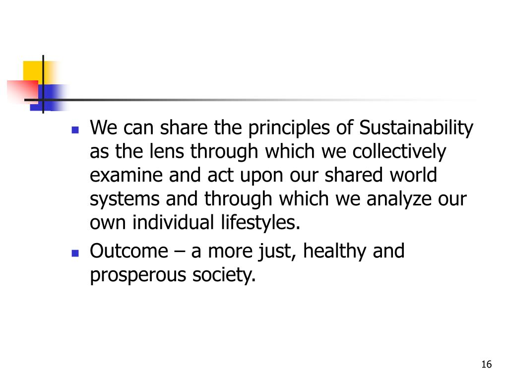 We can share the principles of Sustainability as the lens through which we collectively examine and act upon our shared world systems and through which we analyze our own individual lifestyles.