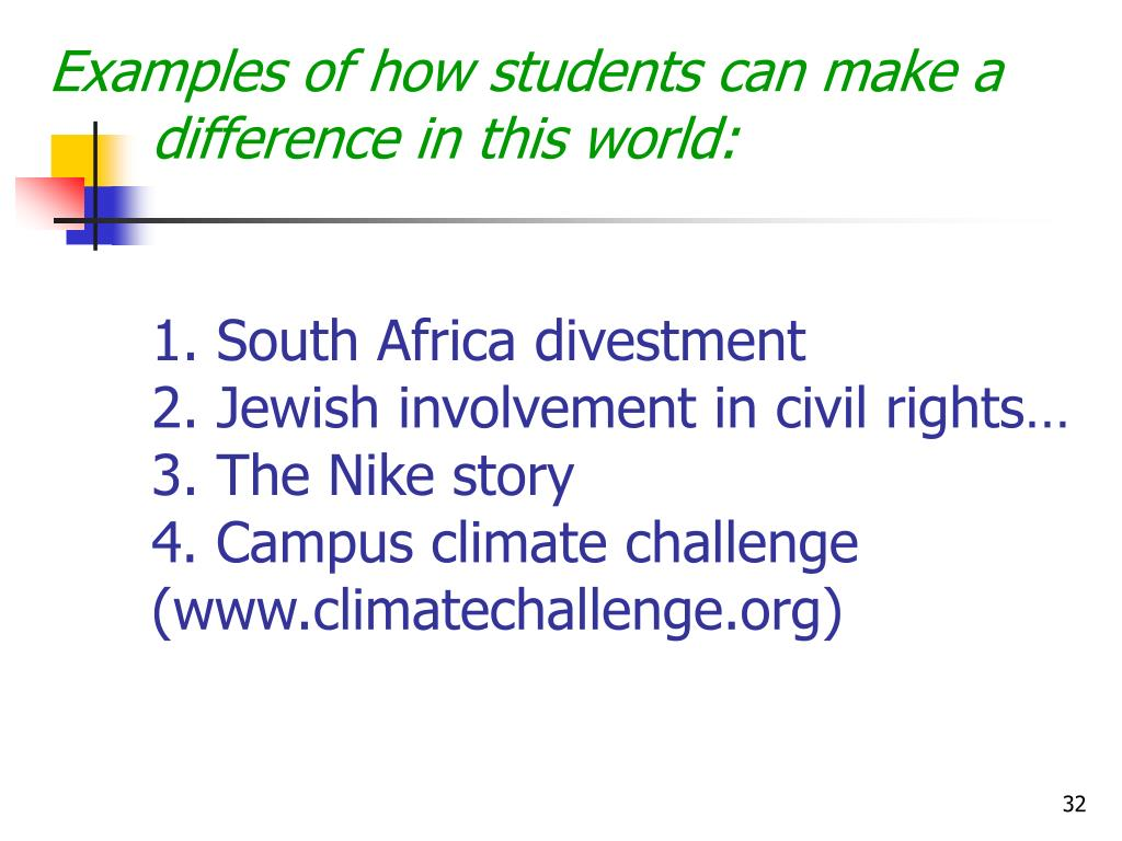 Examples of how students can make a difference in this world: