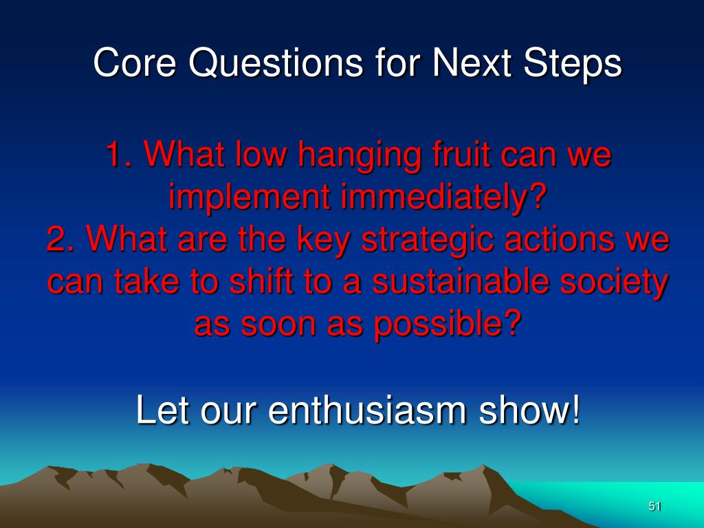 Core Questions for Next Steps