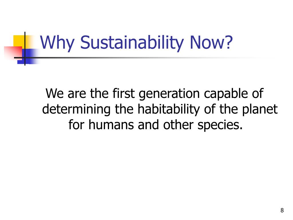 Why Sustainability Now?