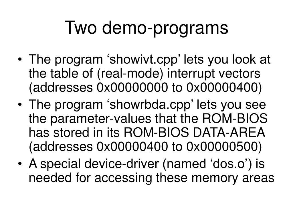 Two demo-programs